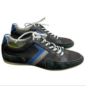 HUGO BOSS Men's Black Leather 'Spacit' Lace Up Sneakers Blue/Gray Stripe Size 46